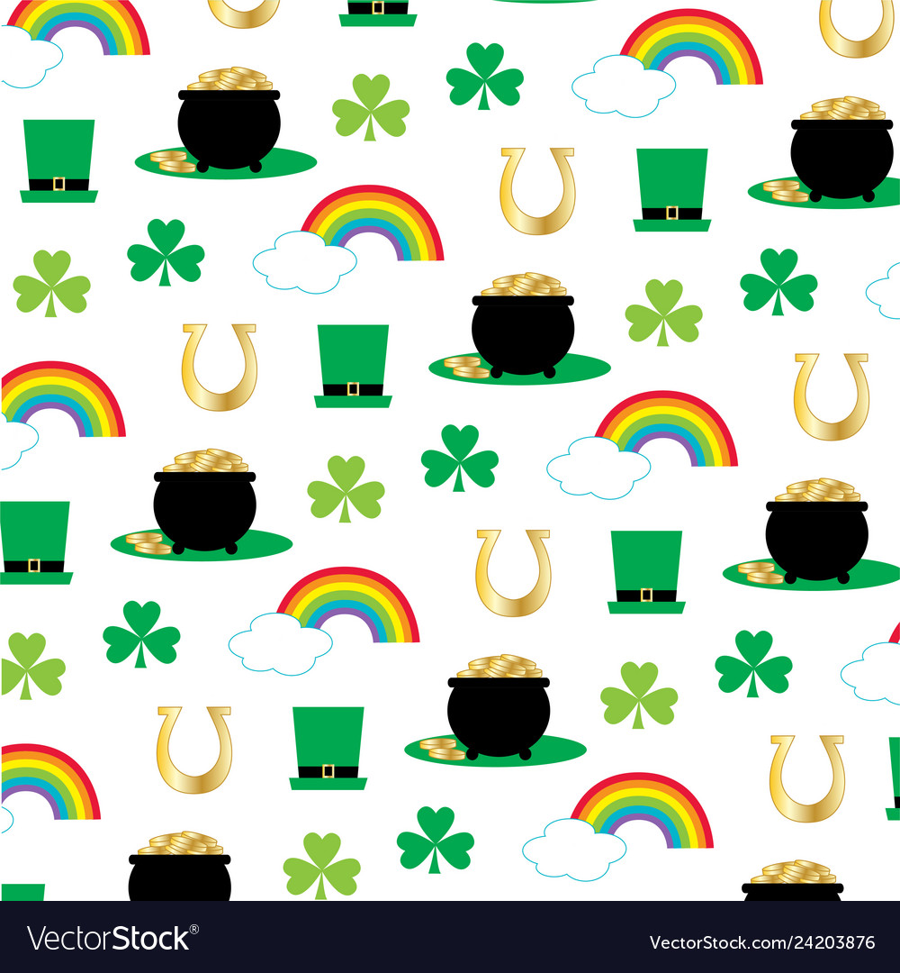 Printst patricks pattern with rainbows