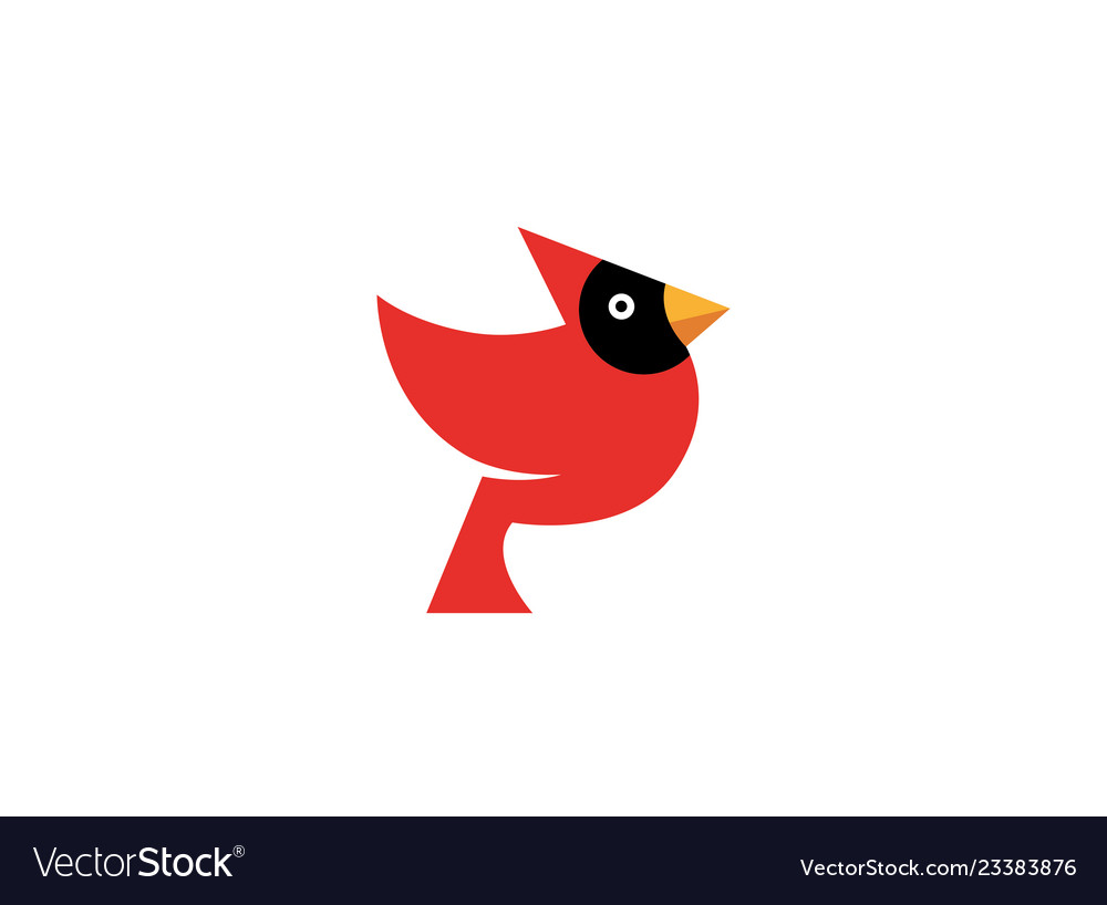 Red bird with black face and yellow beak