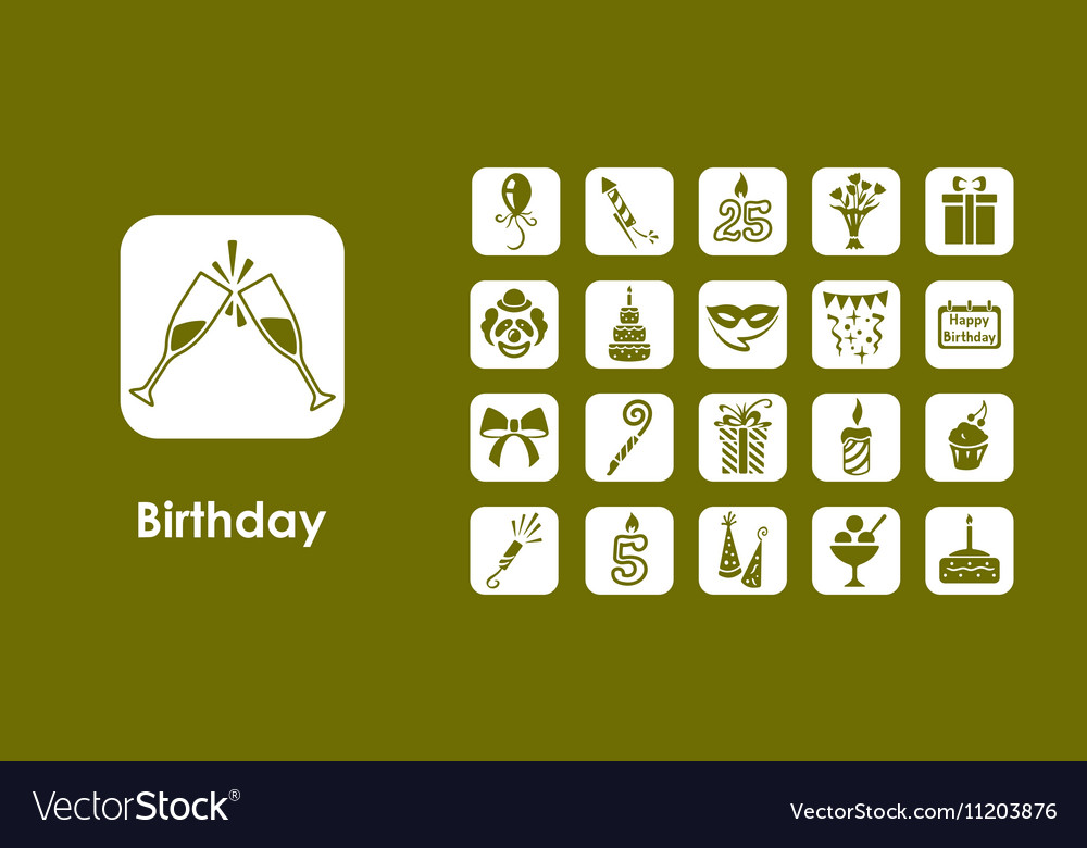 Set of birthday simple icons