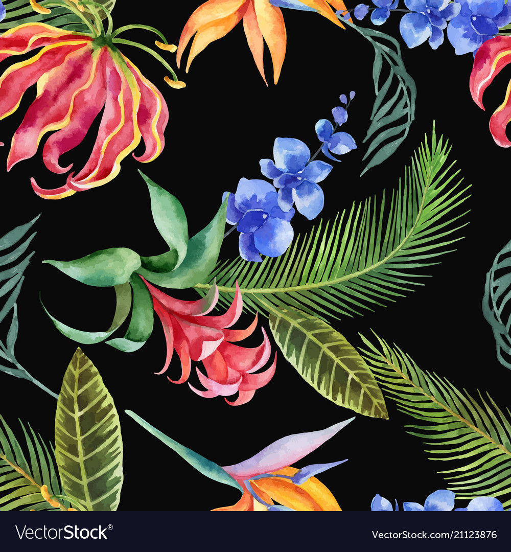 Watercolor seamless pattern of tropical leaves