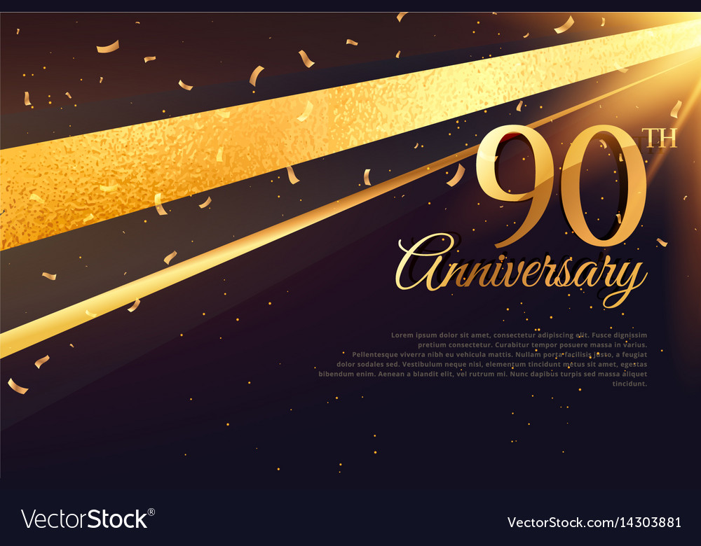 90th anniversary celebration card template vector image