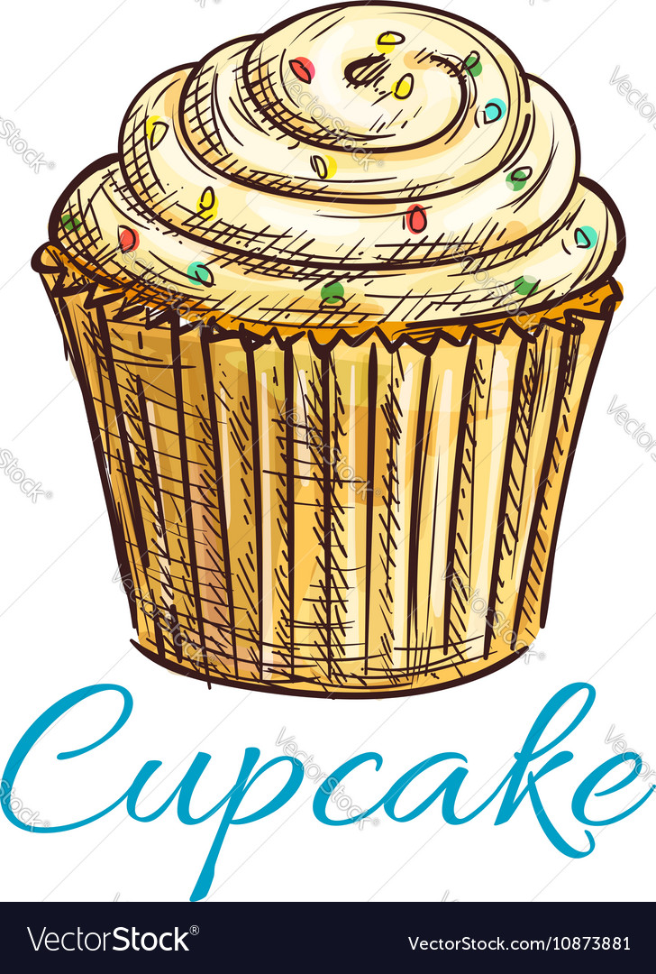 Cupcake isolated sketch with cream and sprinkles