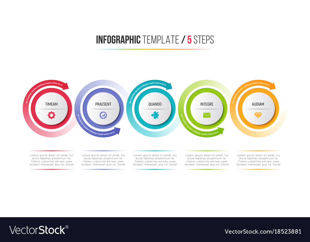 Five steps infographic process chart with circular