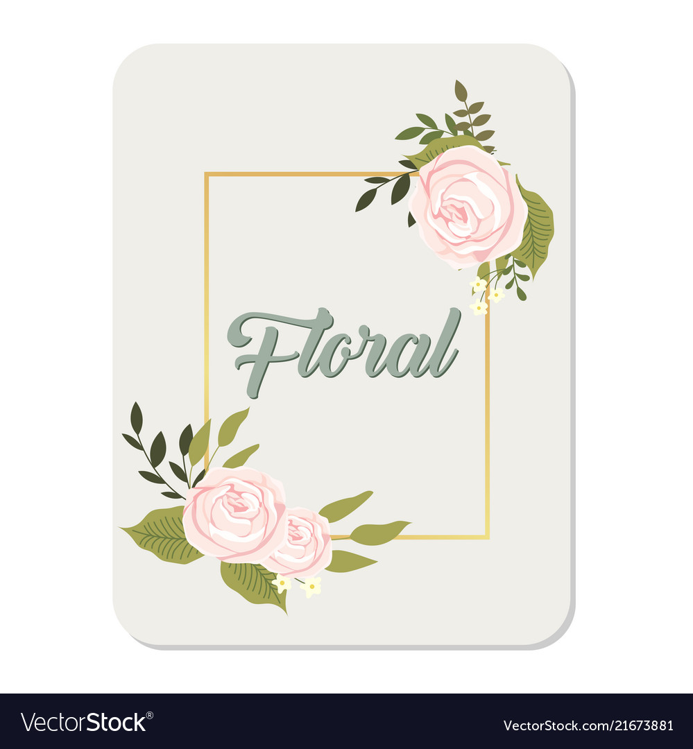 Floral roses square frame grey background i