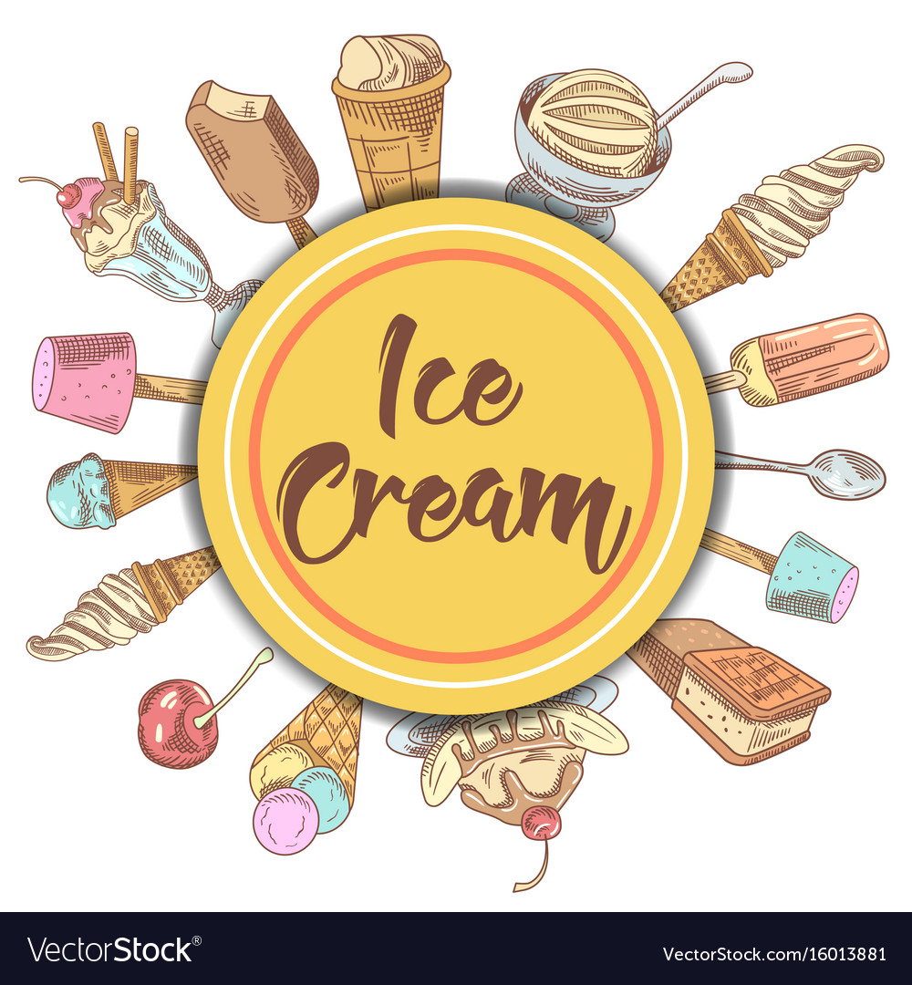 Ice cream and desserts hand drawn background