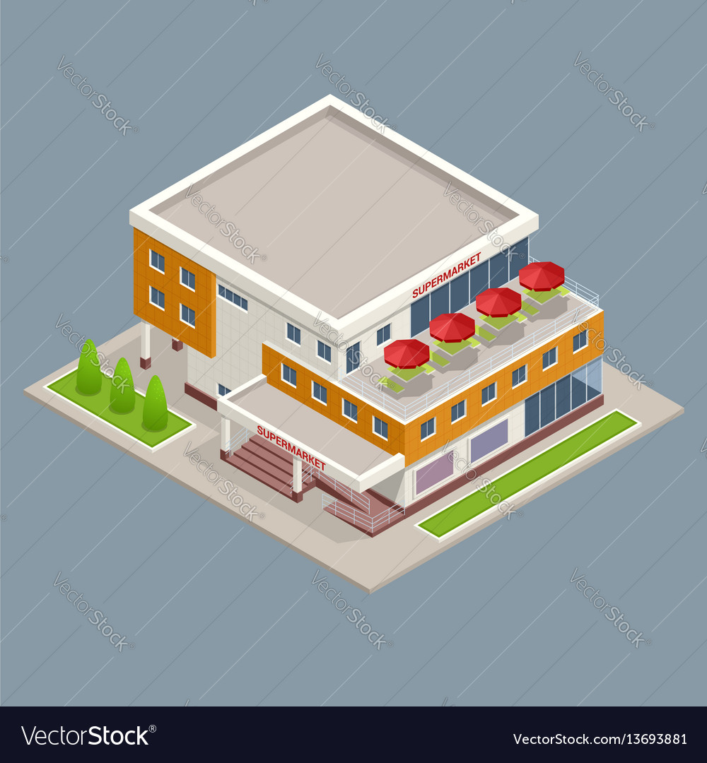 Isometric large supermarket shopping 3d commercial