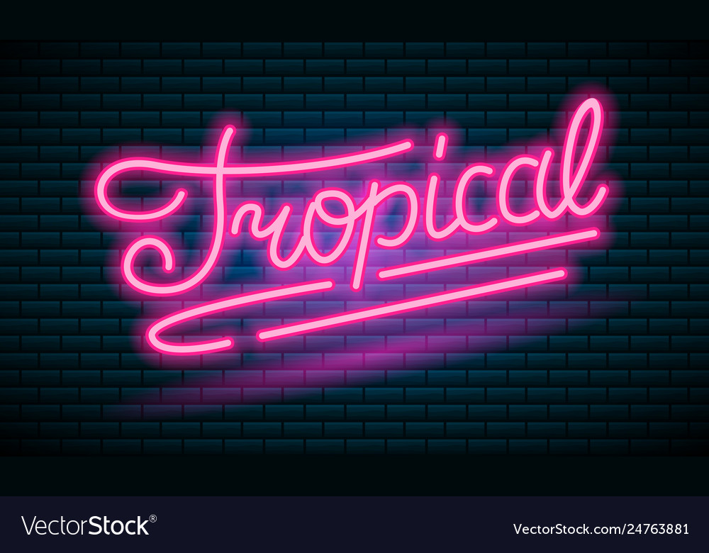 Neon tropical pink inscription sign night bright