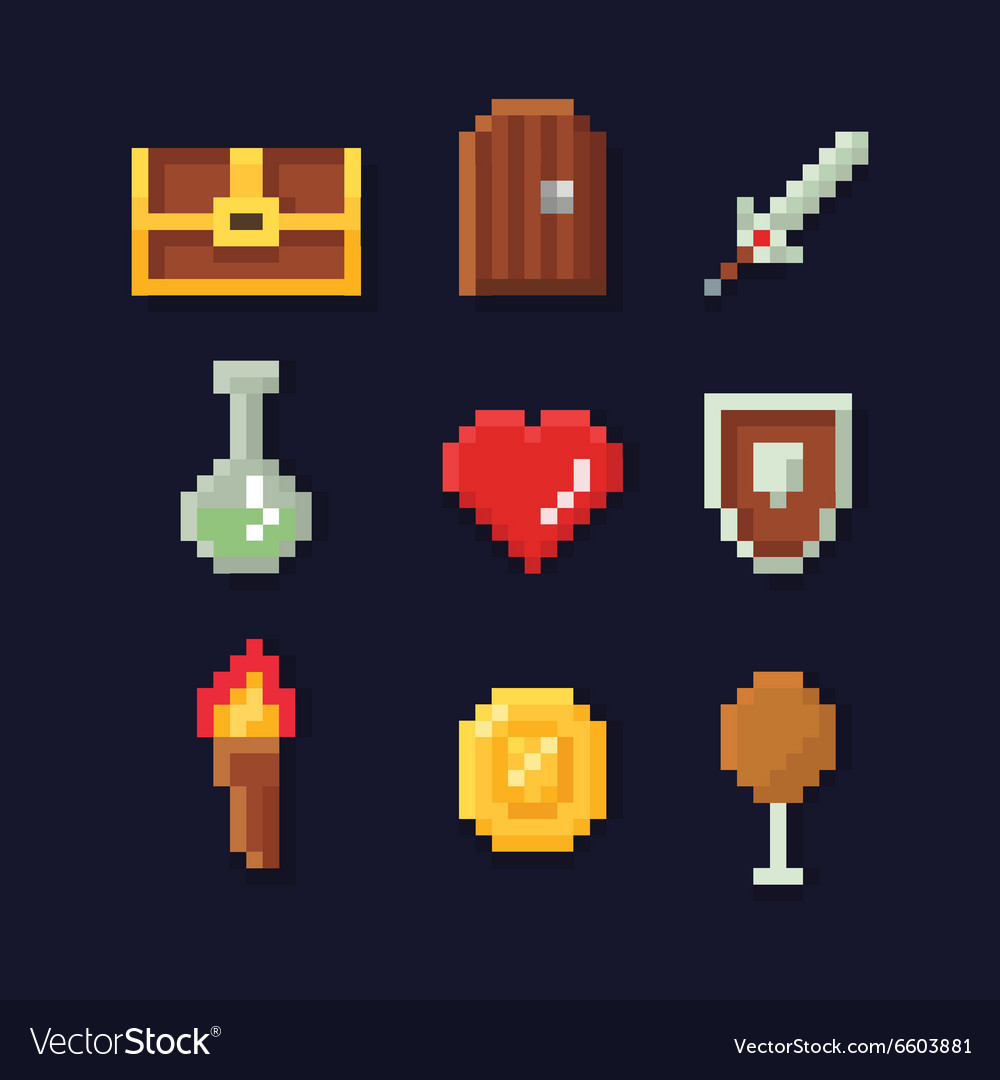 Pixel art isons for fantasy vector image