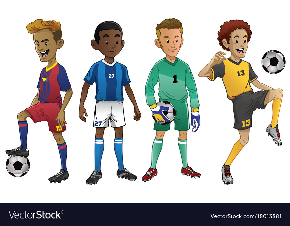 Set of young soccer players