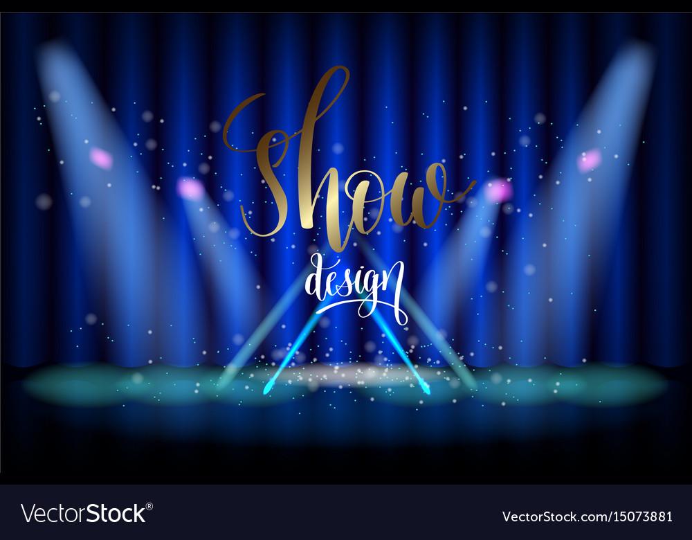 Show design scene illumination on blue curtain