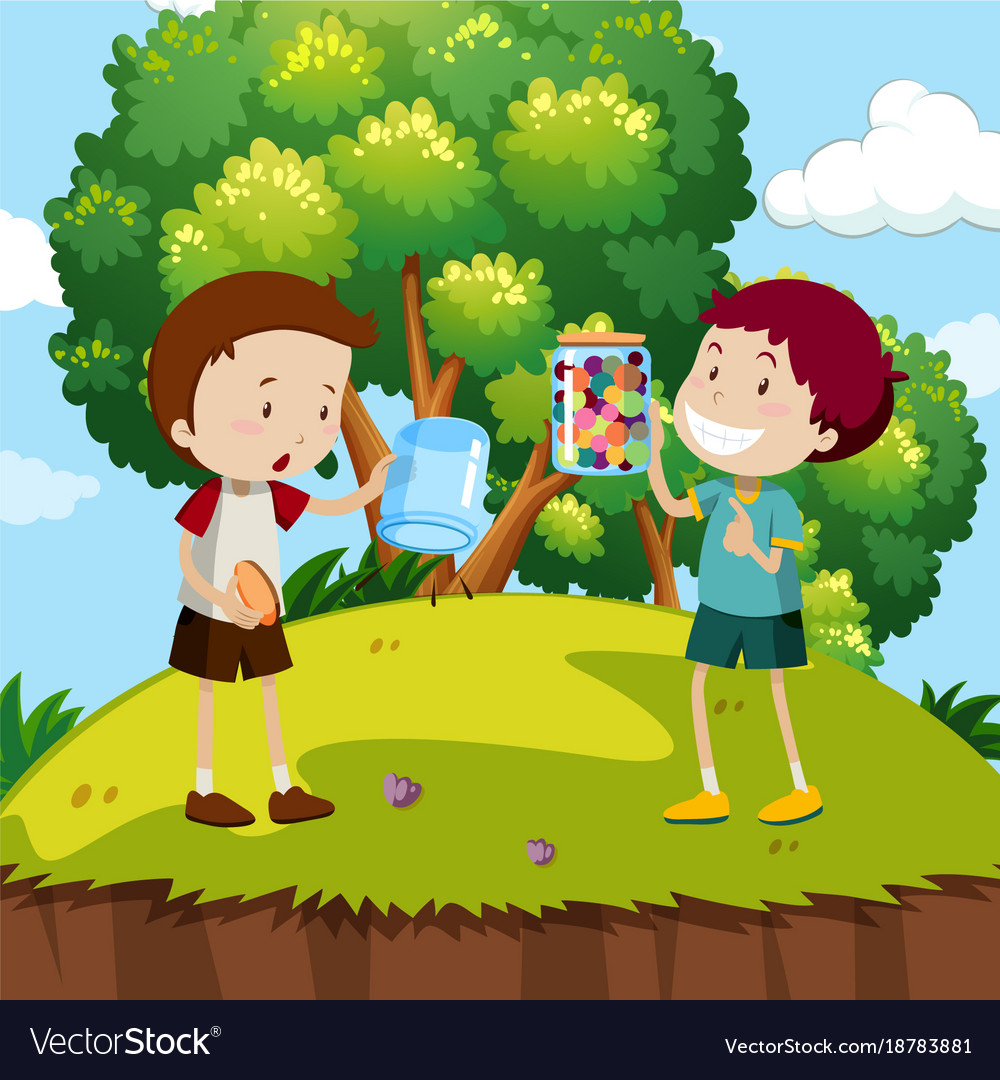 Two boys with colorful marbles in the park vector image