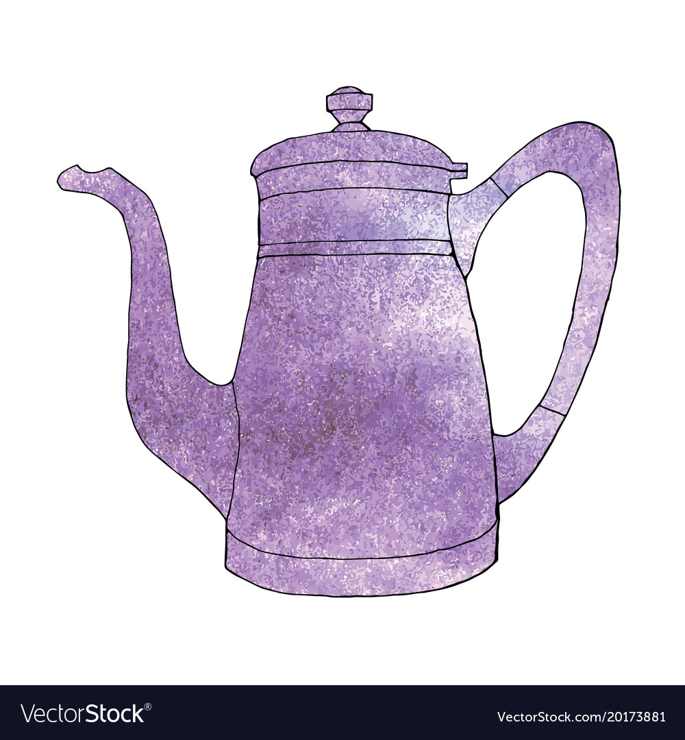 Ultra violet watercolor hand drawn coffeeapot vector image