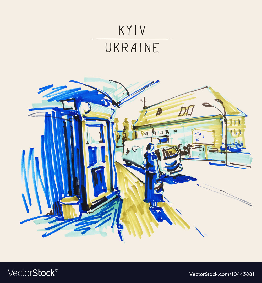 Urban sketch markers drawing of street city Kyiv vector image