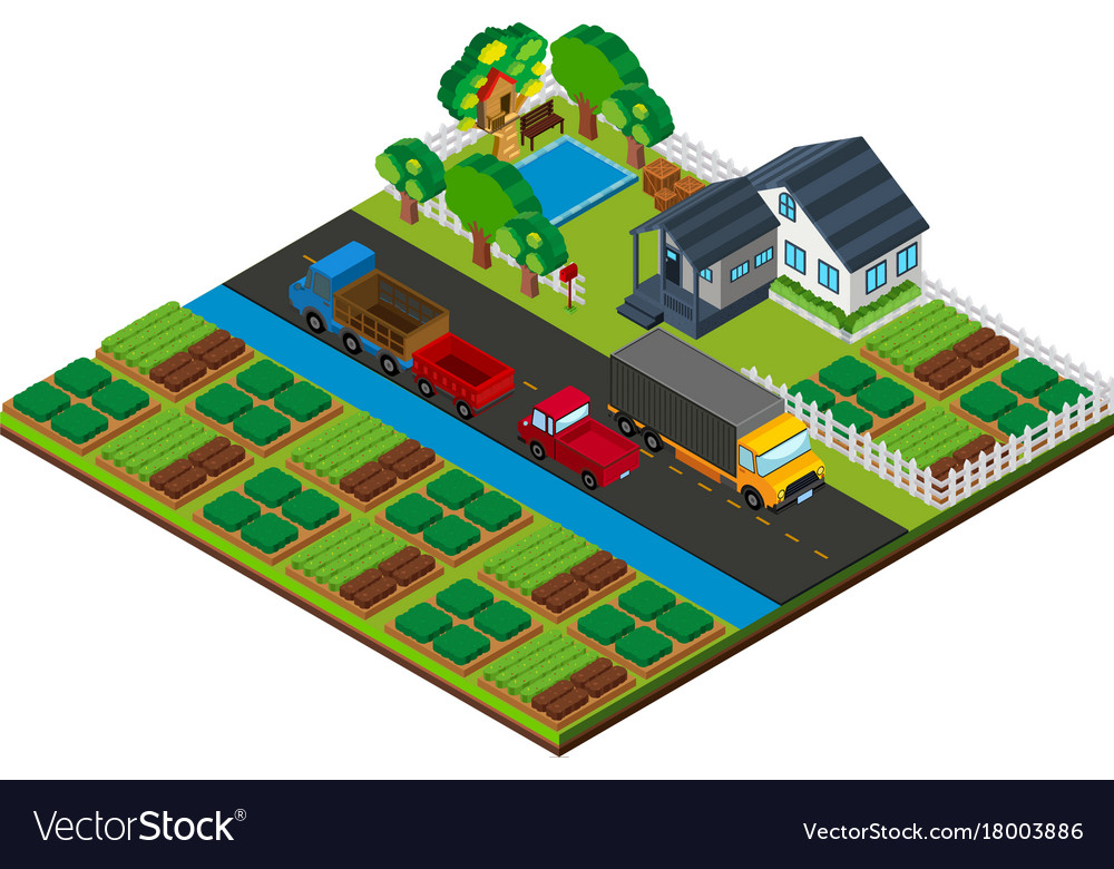 3d Design For Farmland With House And Cars On The Vector Image
