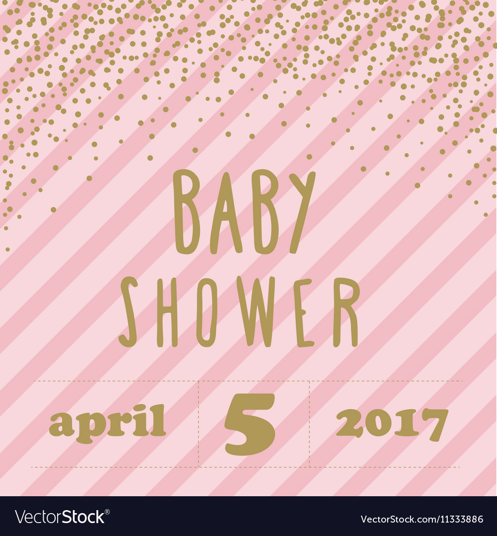 Baby shower invitation with confetti for girl vector image