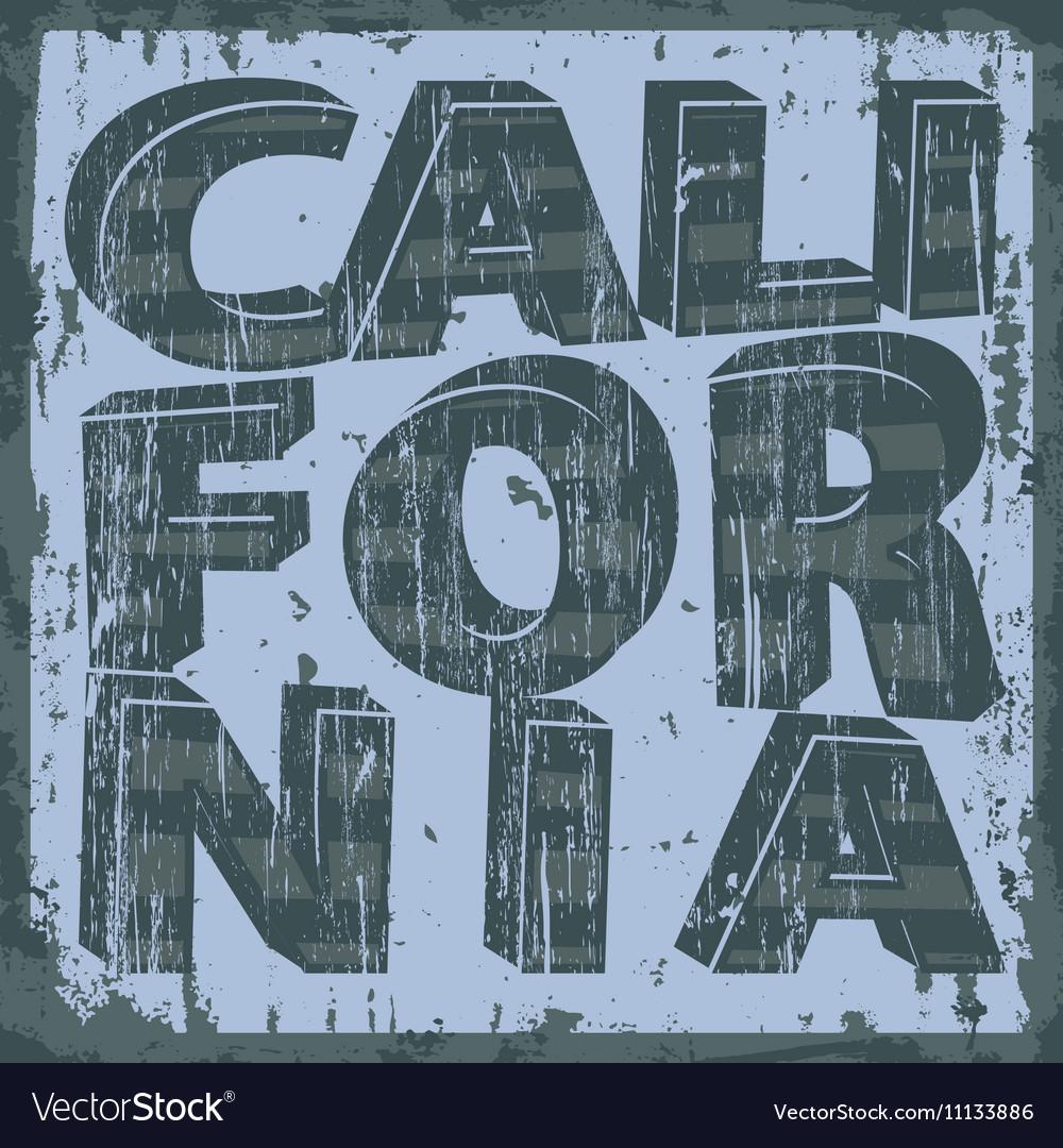 California typography stamp t-shirt graphics