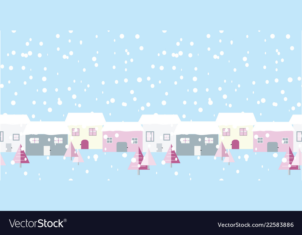 Christmas street snowing scene on blue background