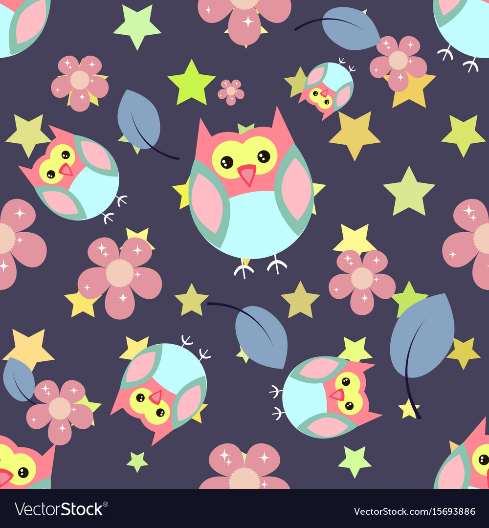 Cute seamless pattern with flowers and owls