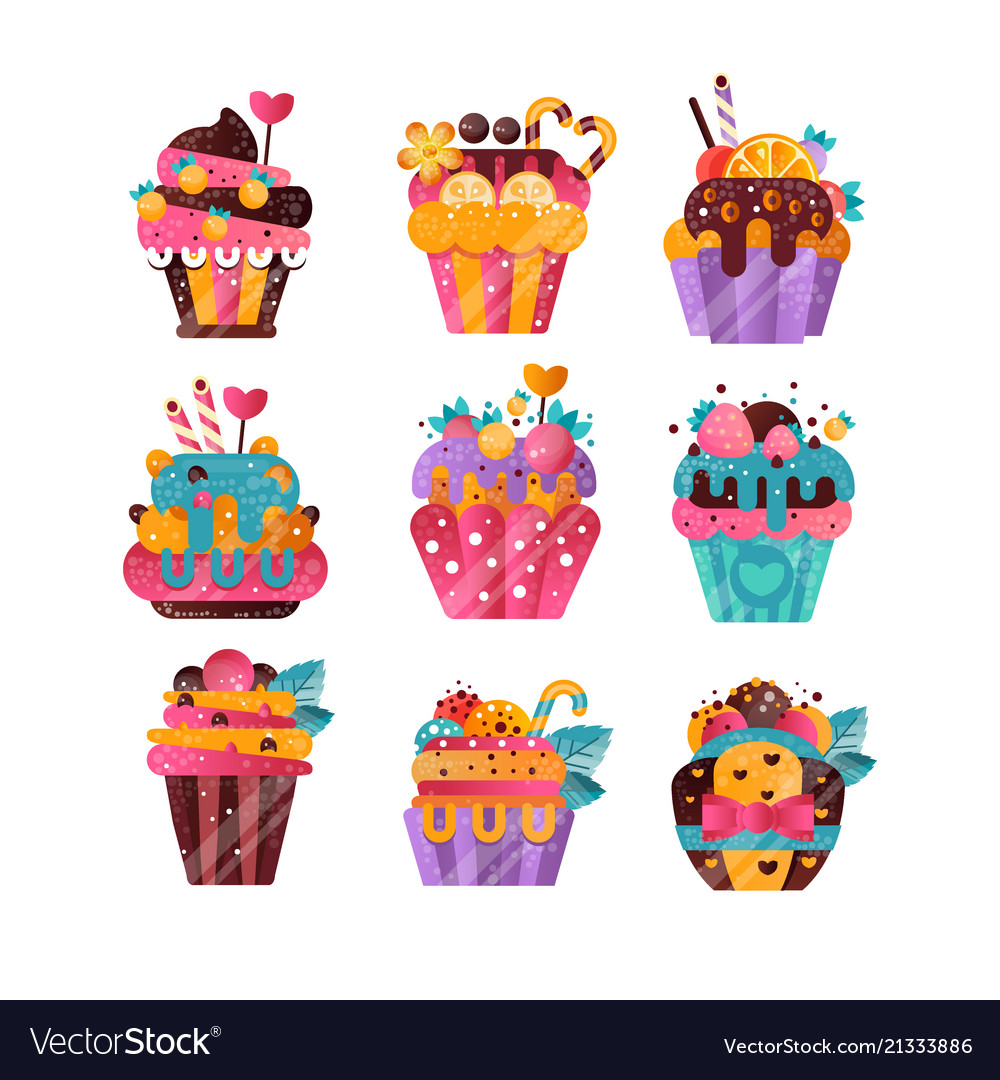 Flat set of tasty cupcakes with gradients
