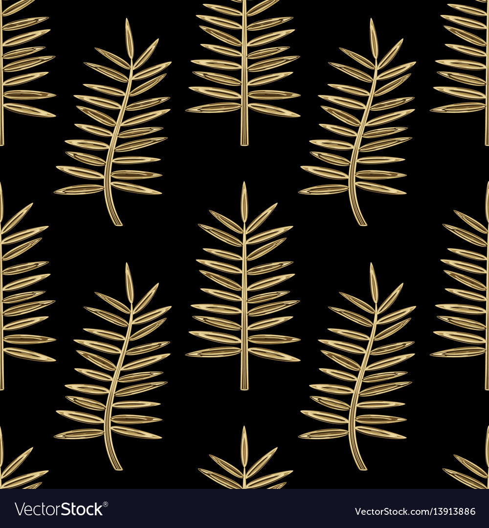 Golden palm leaves seamless pattern