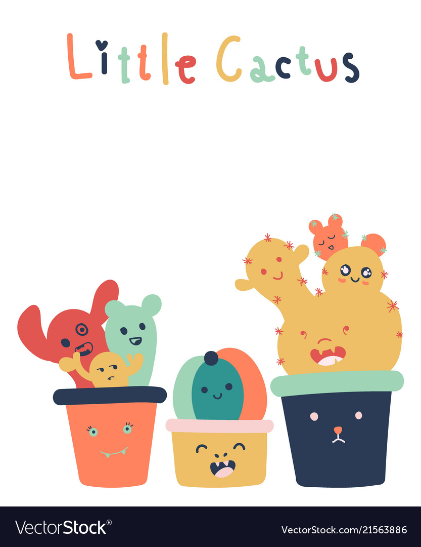 Hand drawn of cute little cactus isolated on