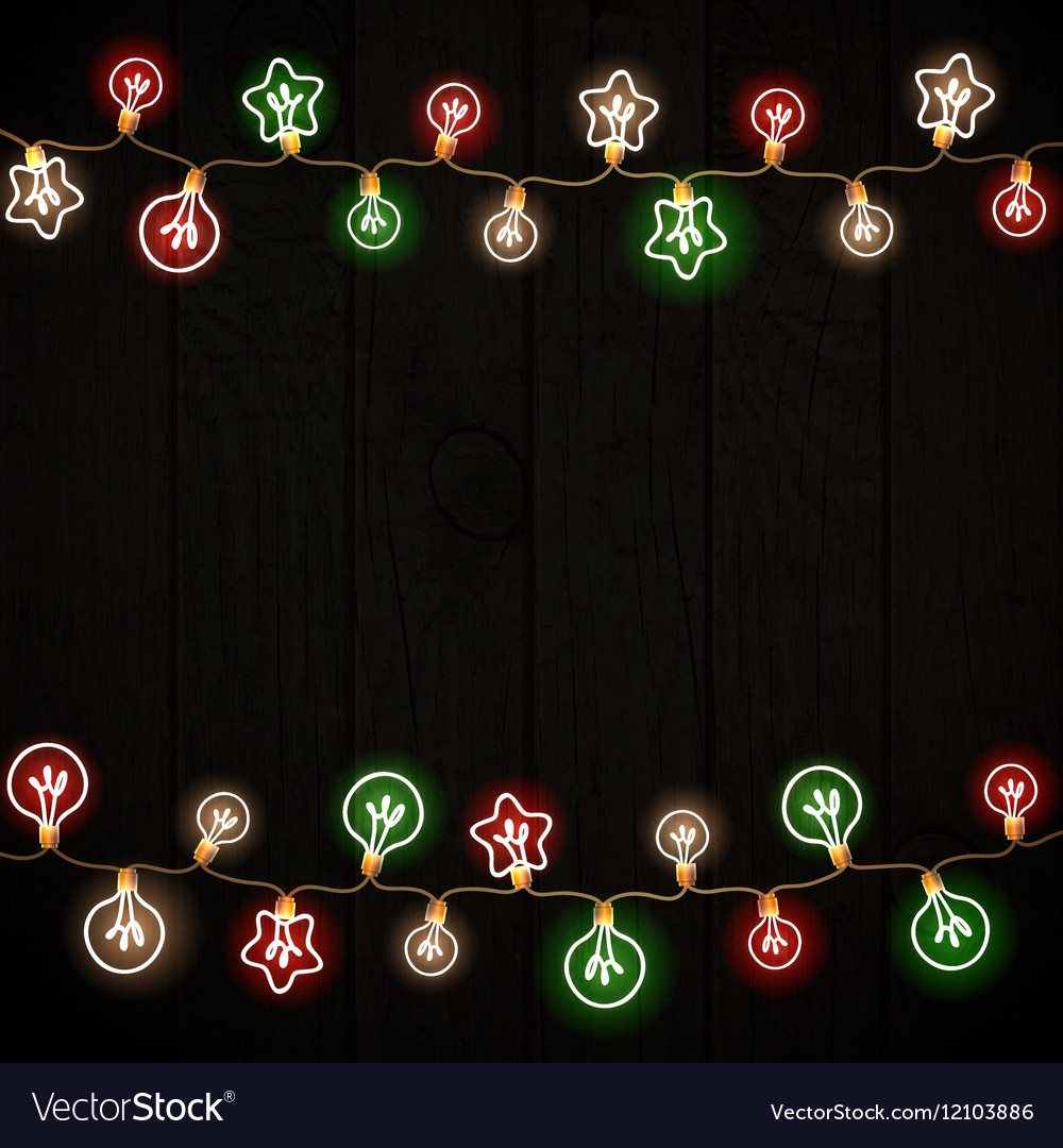 Merry Christmas and New Year Garland Light Design