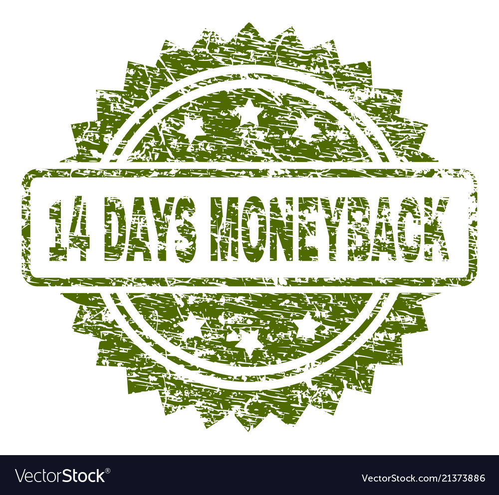 Scratched textured 14 days moneyback stamp seal