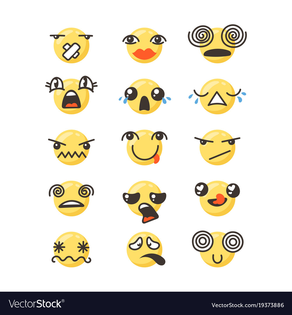 Set of cute lovely kawaii emoticon
