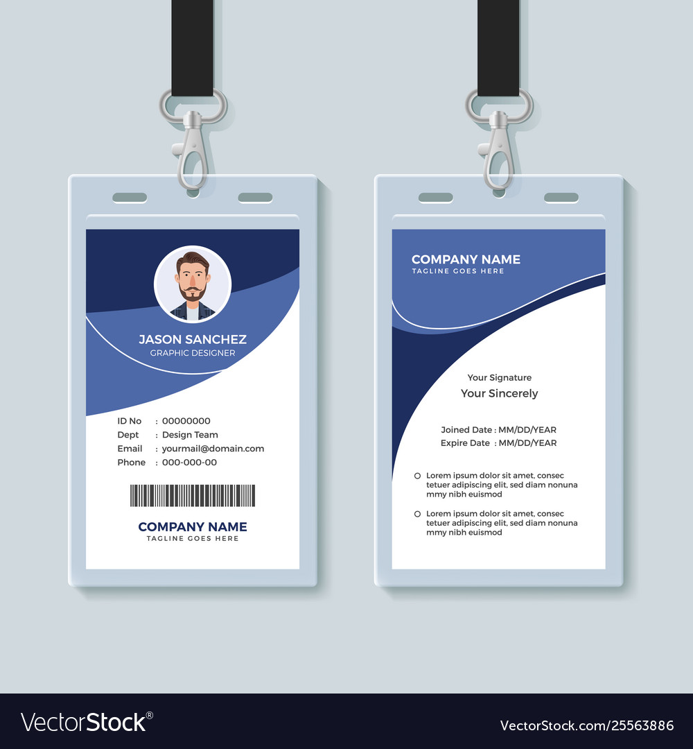 Simple corporate id card design template Vector Image Pertaining To Company Id Card Design Template