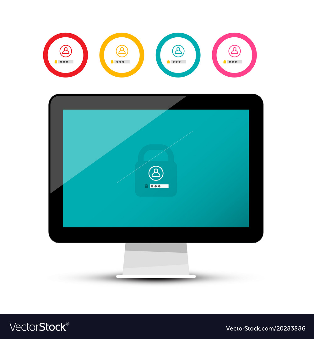 Unlock symbol on computer screen security code on
