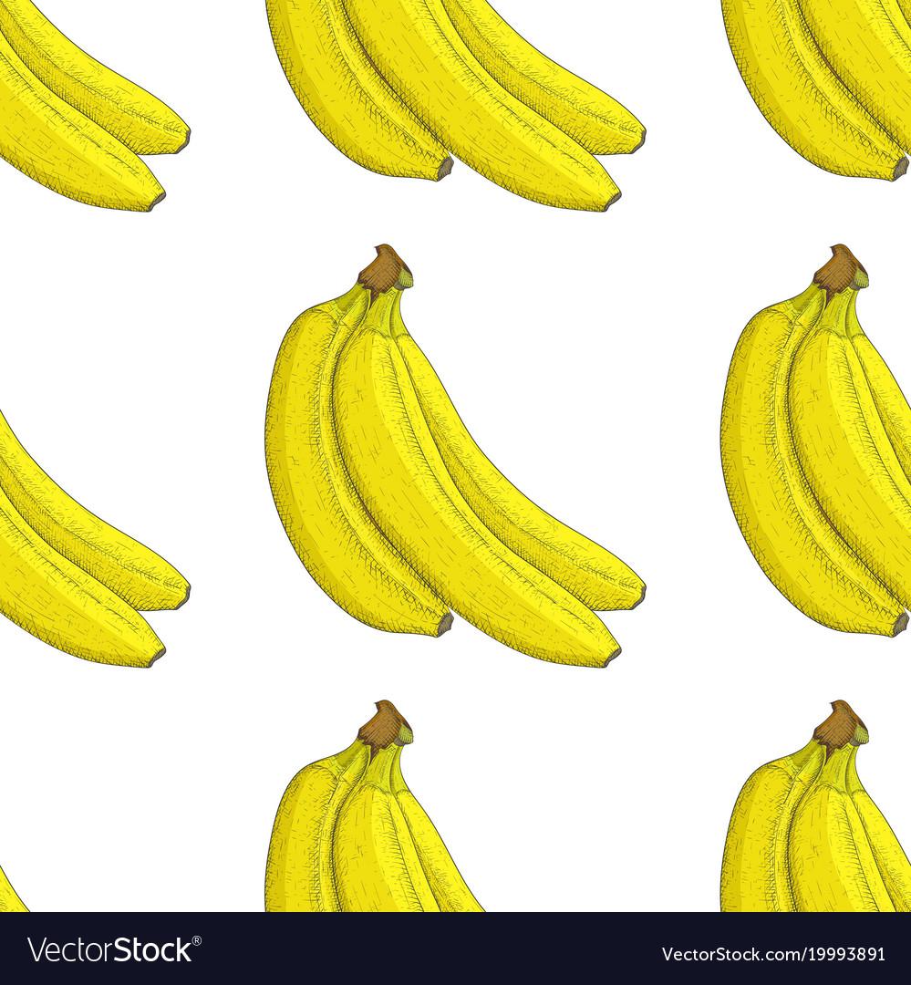 Banana hand drawn colored sketch as seamless