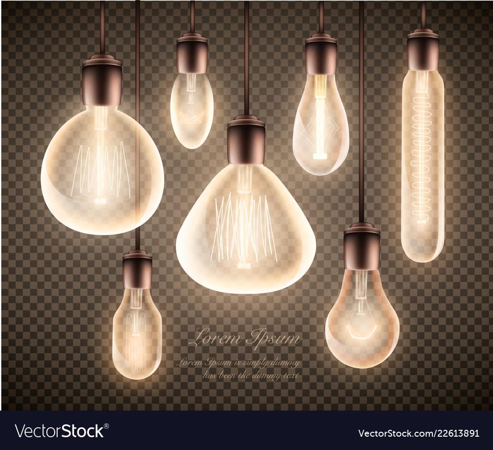 Figure set of a luminous light bulb on a