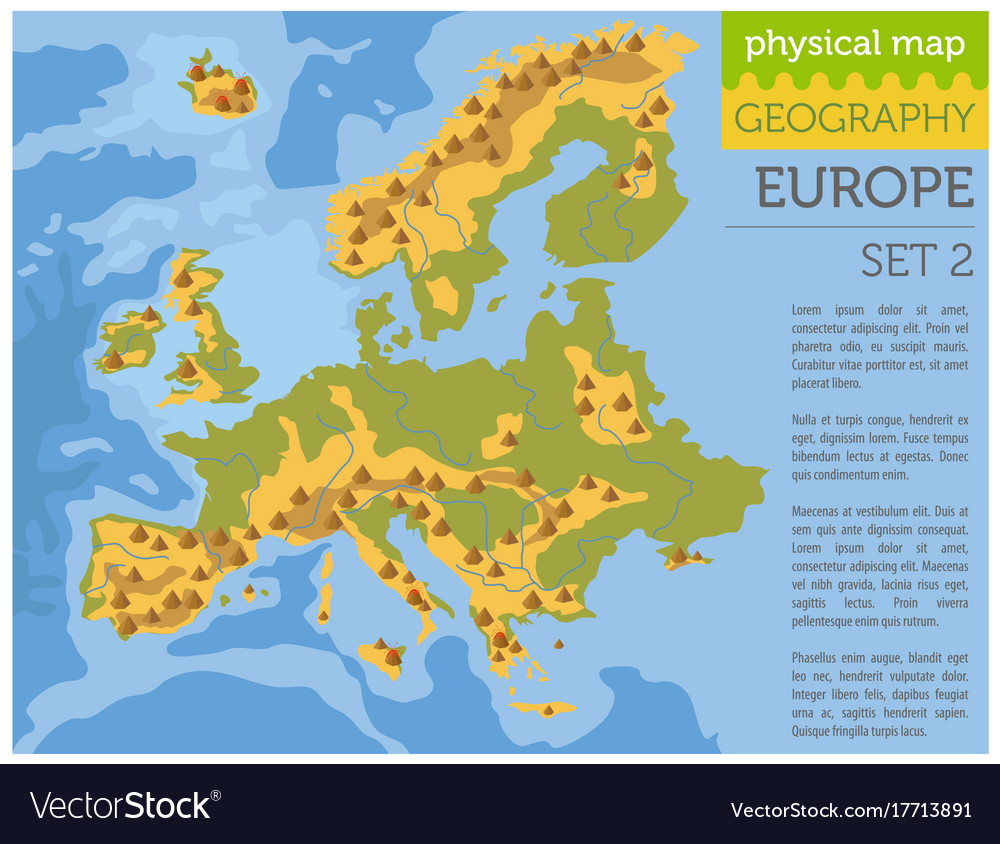 flat europe physical map constructor elements on vector image