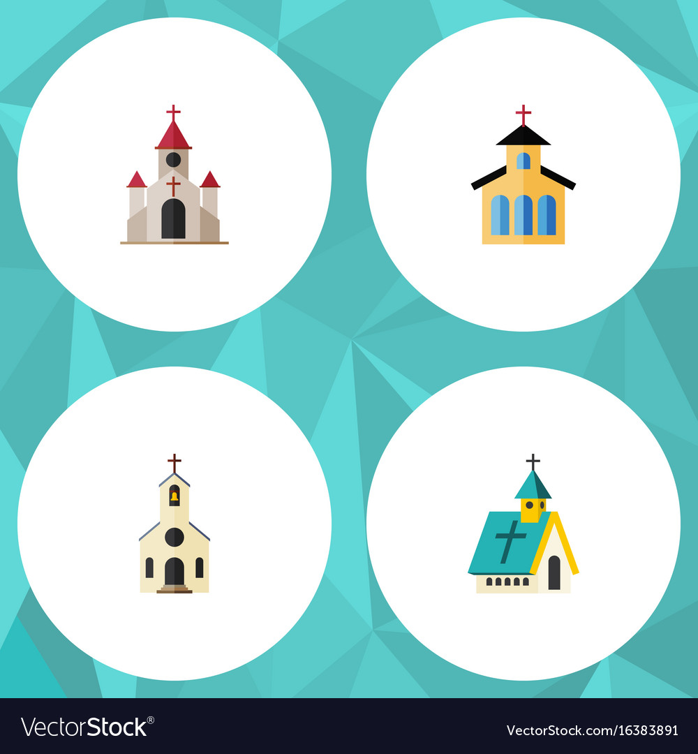 Flat icon christian set of building architecture