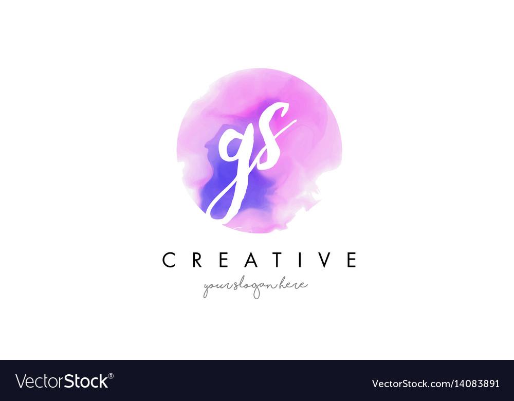 Gs watercolor letter logo design with purple