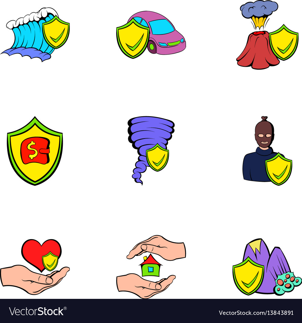 Injury icons set cartoon style