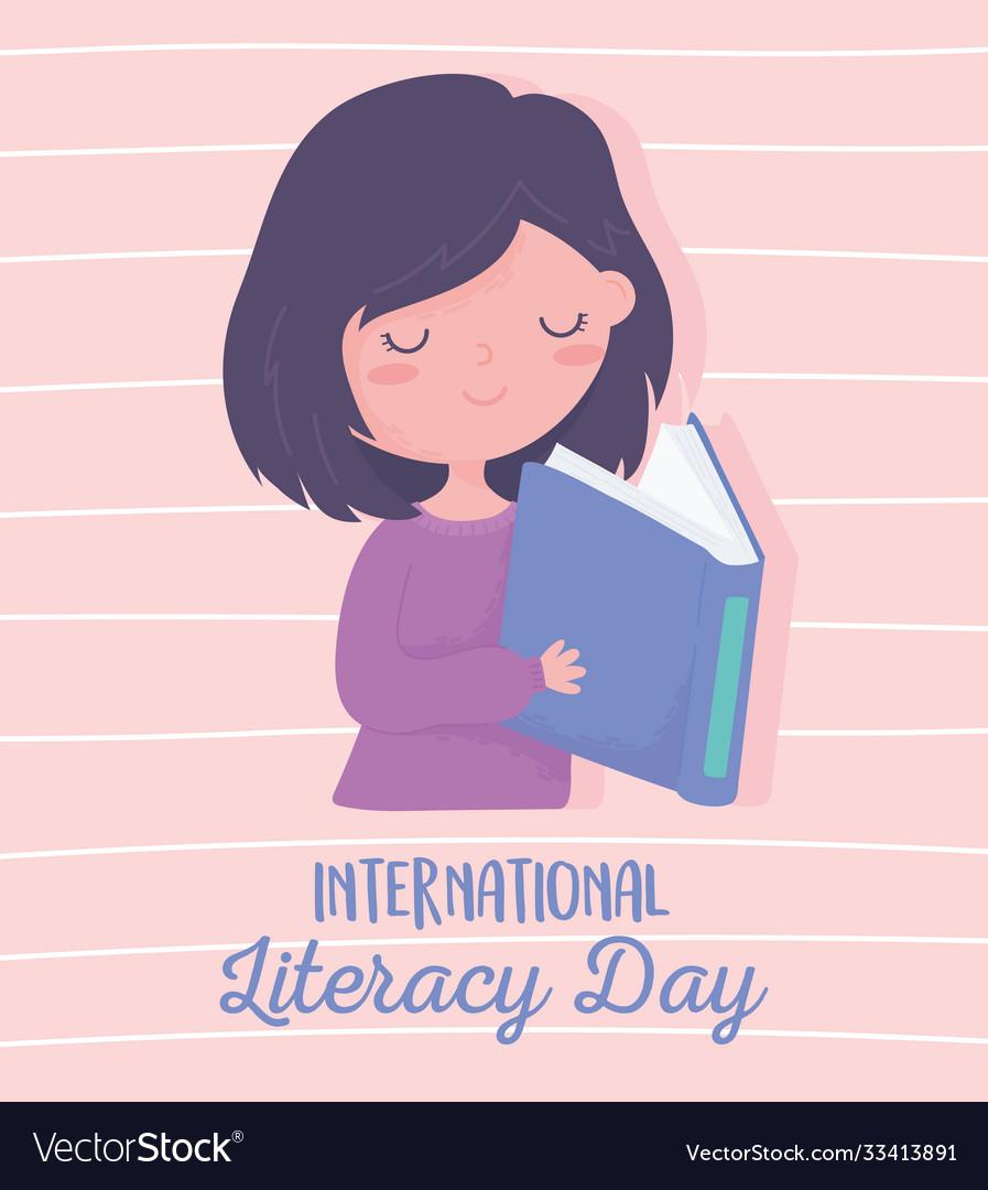 International literacy day cute girl reading book