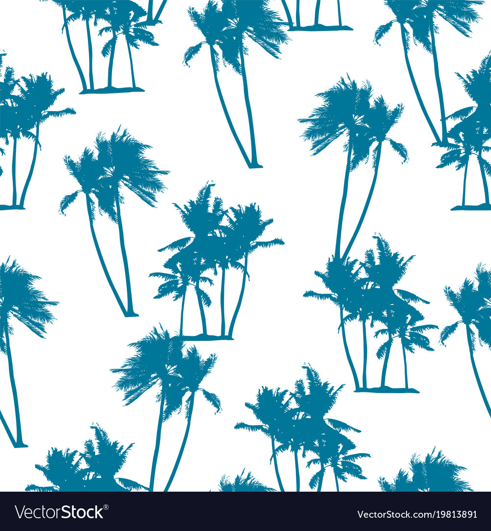 Seamless exotic pattern with palm trees