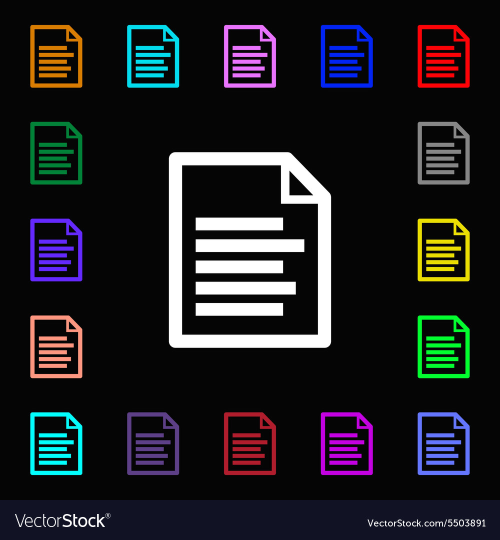 Text file icon sign Lots of colorful symbols for