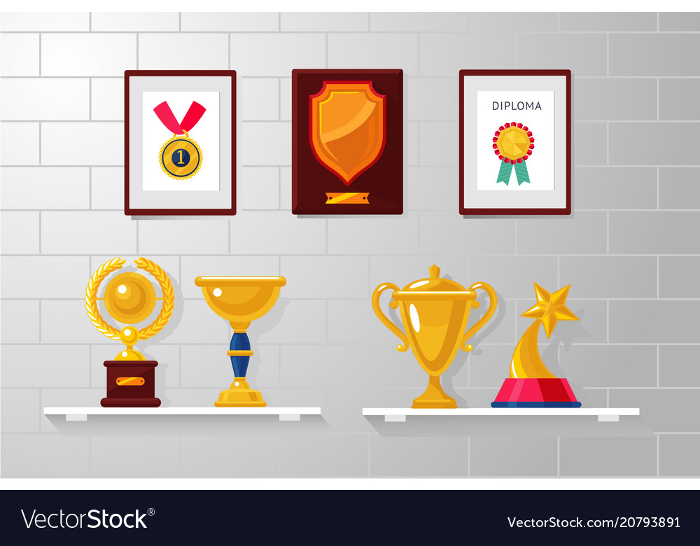 Trophy and awards collection on a white wall