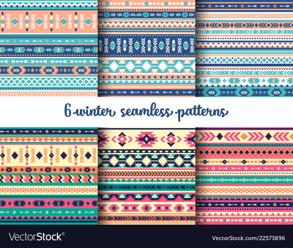 6 winter tribal seamless patterns set