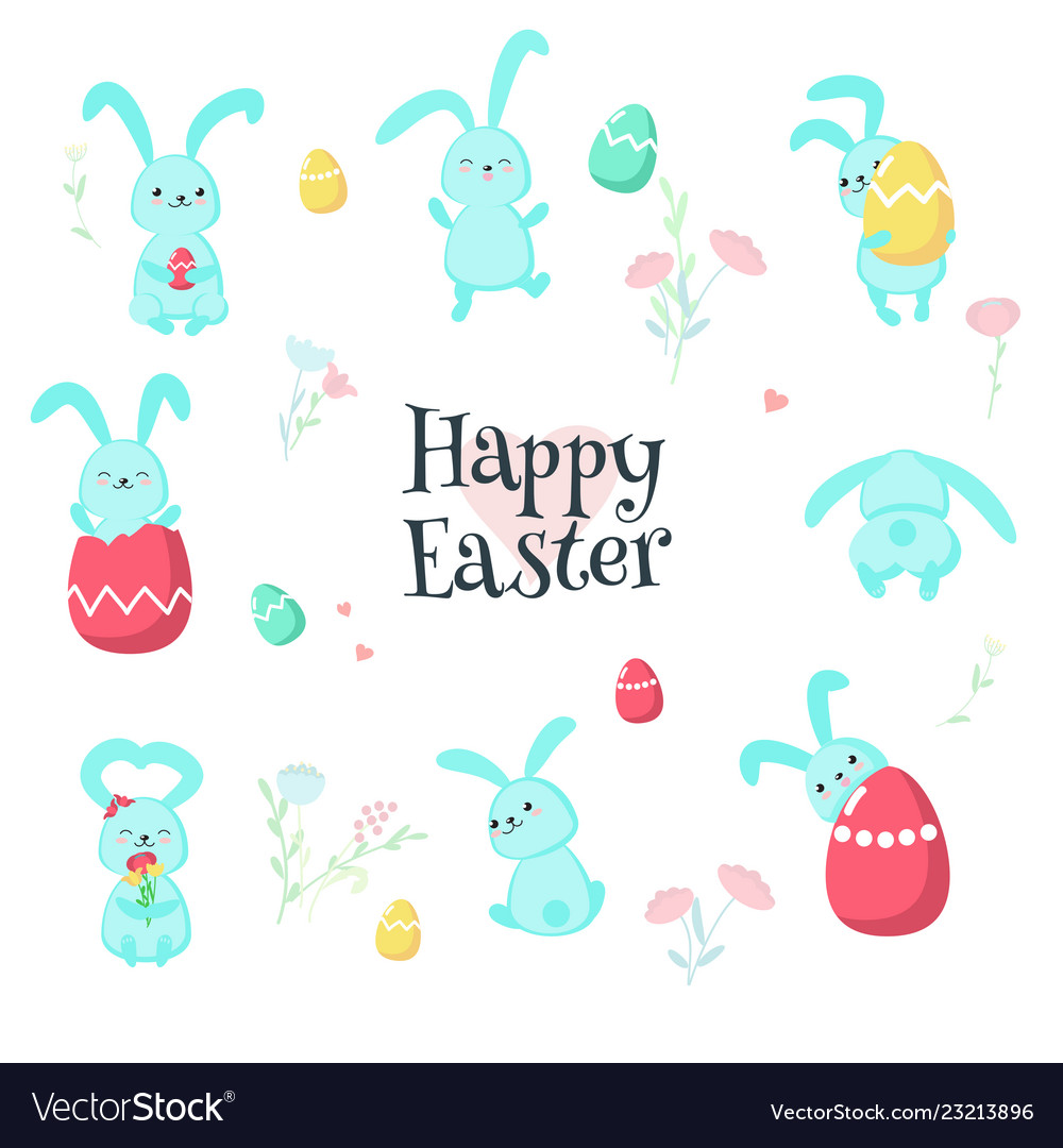 Cute easter rabbits with eggs isolated