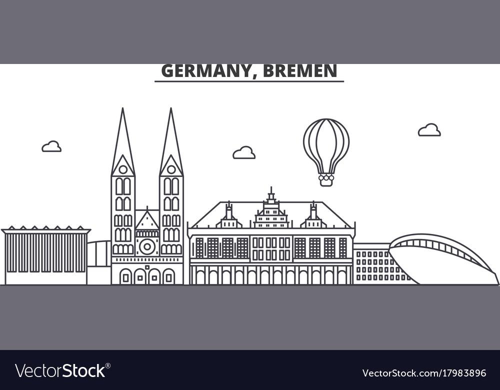 Germany bremen architecture line skyline vector image