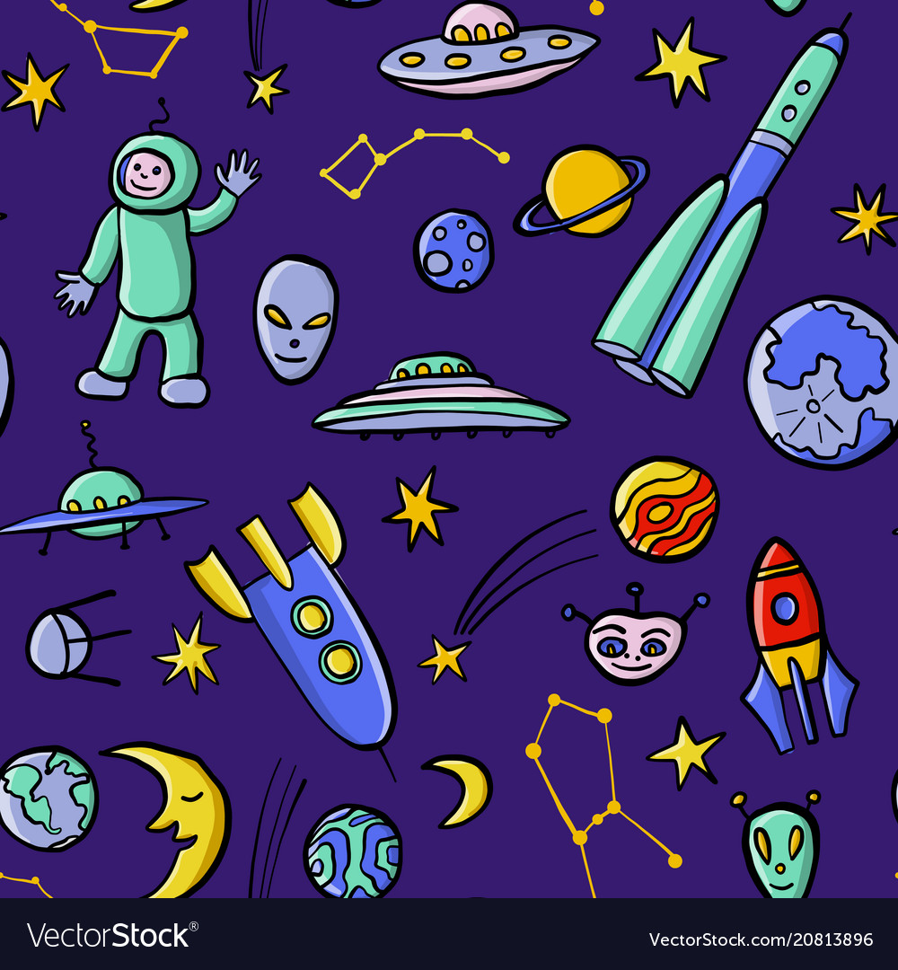 Hand drawn doodle space seamless pattern