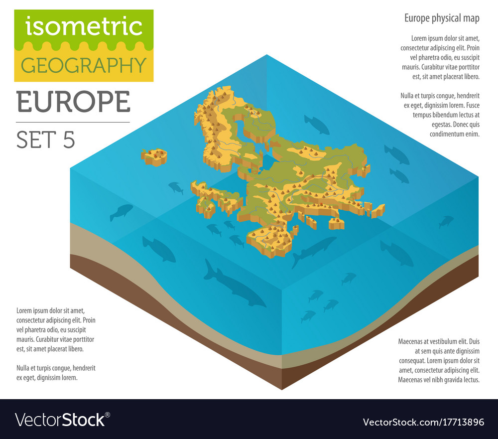 Isometric 3d europe physical map constructor