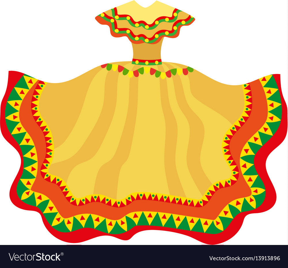 Mexican dress icon flat style traditional