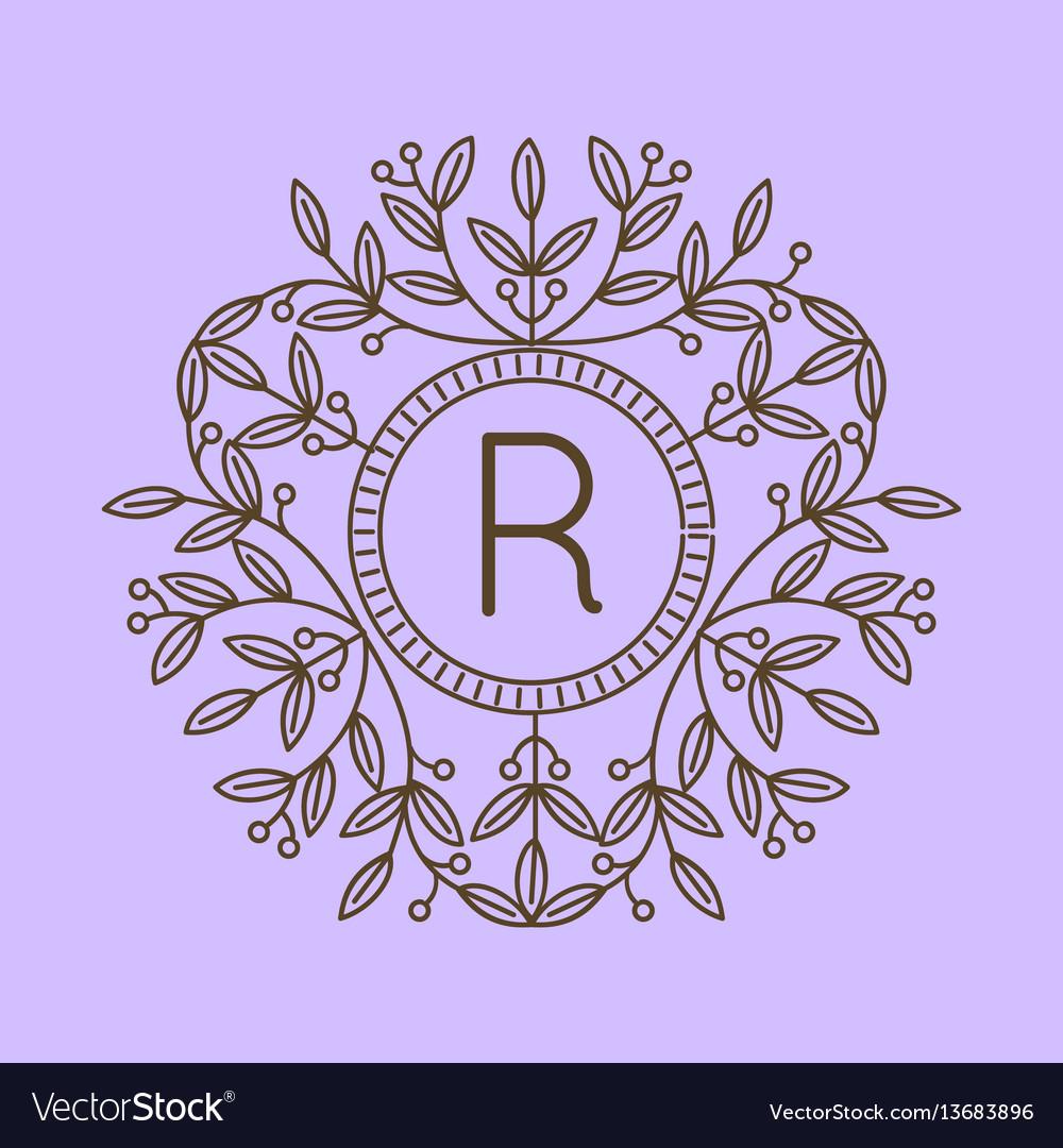 Monogram r logo and text badge emblem line art