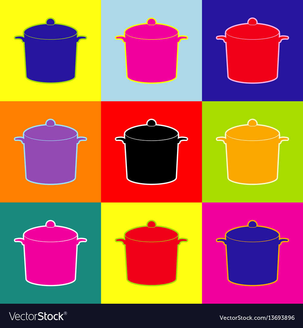 Pan sign pop-art style colorful icons set
