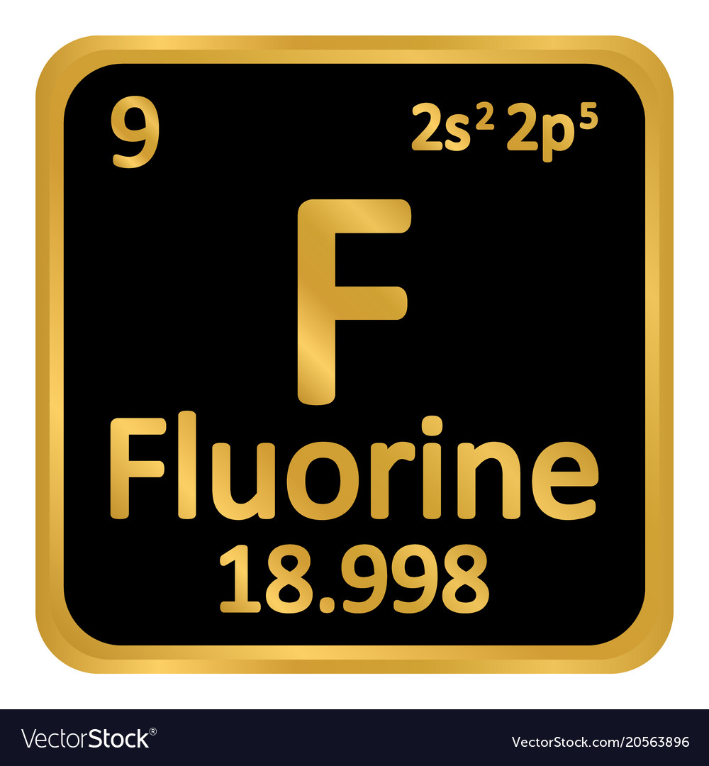 Periodic Table Element Fluorine Icon Royalty Free Vector
