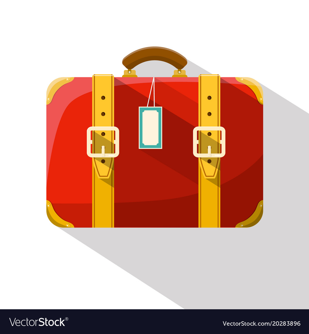 Retro red suitcase isolated on white background vector image